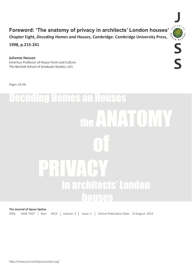 Foreword The Anatomy Of Privacy In Architects London Houses